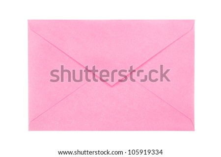 A new, blank, open pink envelope isolated on white for user convenience.