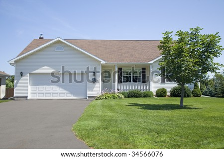 A new bungalow in a subdivision.
