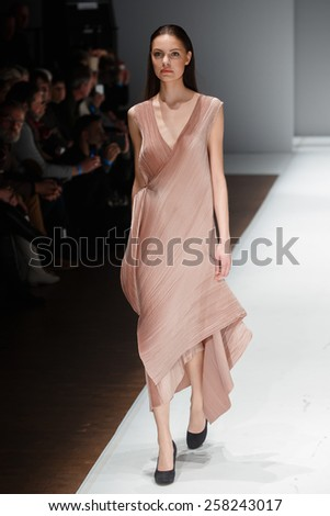 A new collection of designs by Israeli Mashiah Arrive presented at Potsdam Now, a fashion event accompanying the Mercedes Benz Fashion Week Berlin on January 22, 2015 in Potsdam, Germany.