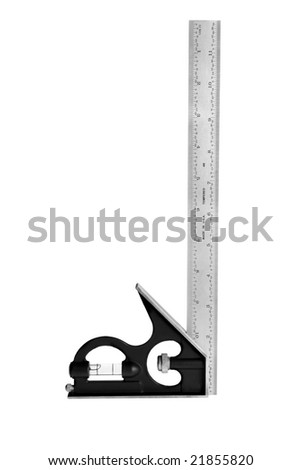 A new combination square isolated on a white background can be used for any measurement or carpentry inference.