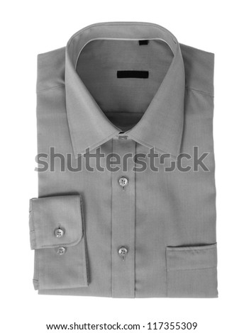A new gray man's shirt isolated over a white background
