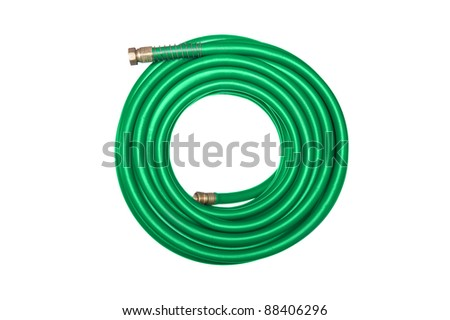 A new green coiled rubber hose isolated on white.