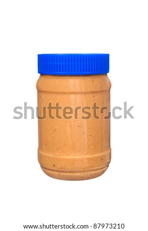 A new jar of creamy peanut butter isolated on white.