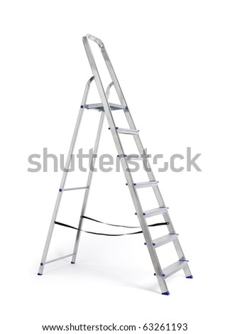 A new metallic step ladder isolated on white with natural shadows.