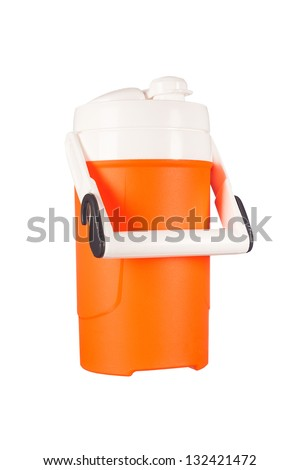 A new, portable beverage thermos used to keep drinks hot or cold is isolated on white.