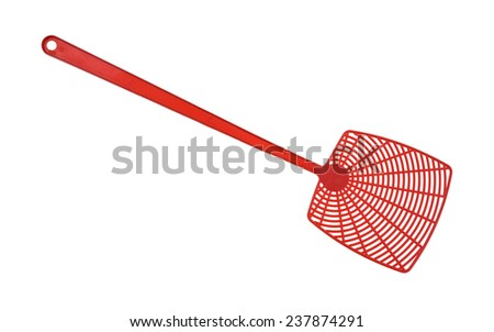 A new red fly swatter on a white background. - Shutterstock ID 237874291