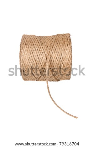 A new roll of brown hemp string isolated on white.