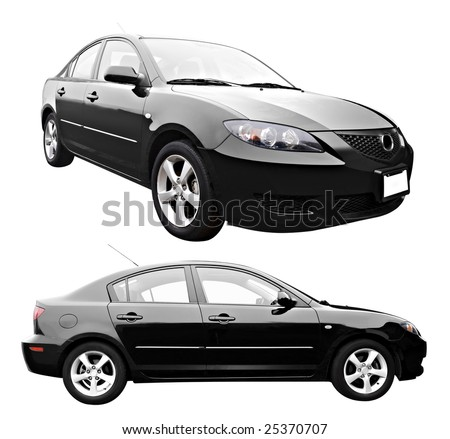 A new sedan style car isolated on a white background with clipping path. - stock photo