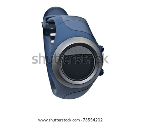 A new sport style watch closeup, isolated on white.