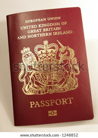 A new-style British biometric passport, with the symbol that shows it has a computer chip at the bottom of the cover, As of April 2006 these are only being issued by consulates outside the UK.
