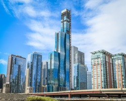 A new supertall luxury residential tower rises in Chicago, IL.