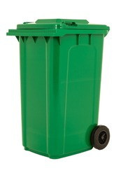 A new unbox green large bin isolated on white background.