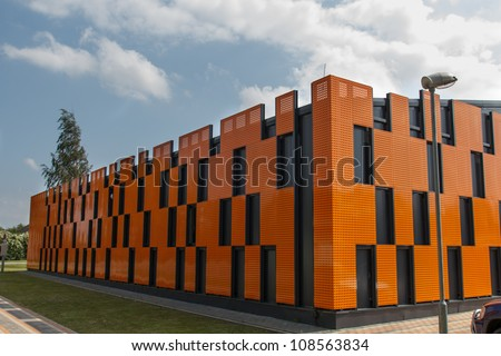 a new warehouse was built from colorful metal panels #108563834