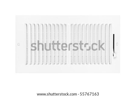 A new white heating and air conditioning vent isolated on white for use as a design element.