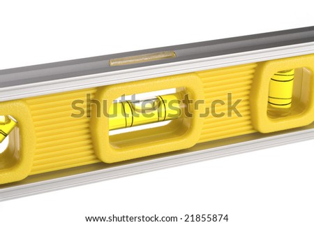 A new yellow level isolated against a white background can be used for any tooling, fabrication or construction inference. - stock photo
