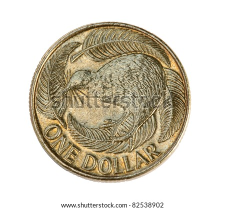 A New Zealand one dollar coin isolated on white
