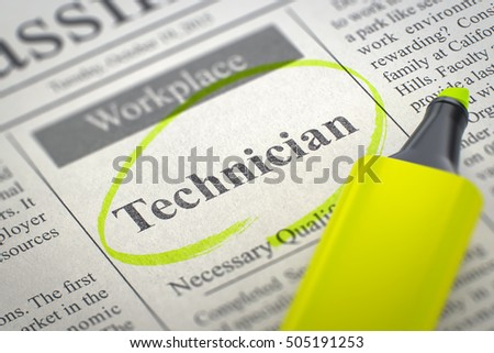 A Newspaper Column in the Classifieds with the Jobs of Technician, Circled with a Yellow Highlighter. Blurred Image with Selective focus. Hiring Concept. 3D Illustration.