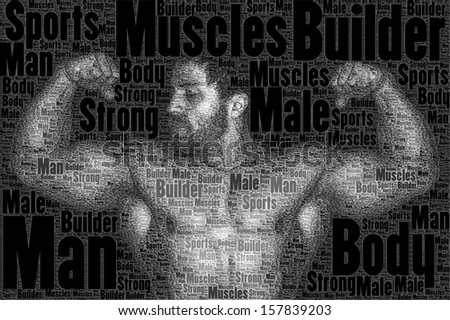 A nice body builder picture made of words