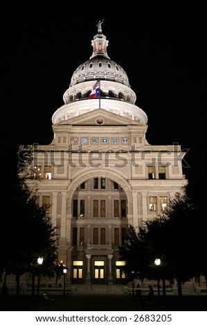A nice clean shot of the Texas State Capitol Building in downtown Austin, Texas at night.