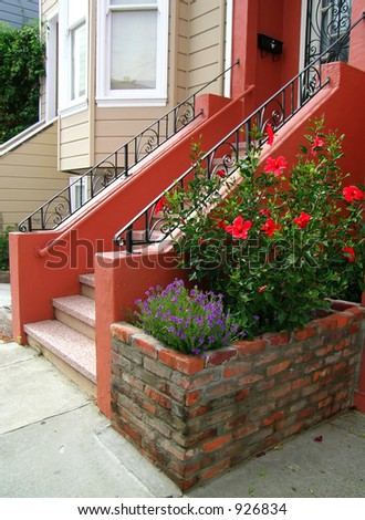A nice entrance to a house in San Francisco - beautiful rails, window bars. Velvia-like color.