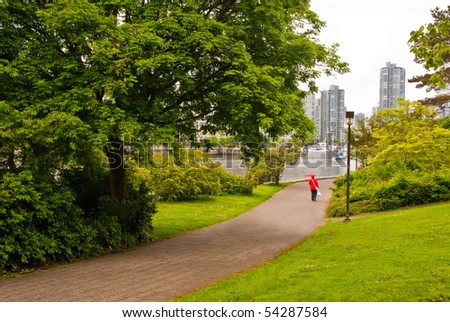 A nice fragment of the sea walk at Charleson park, Downtown of Vancouver, Canada.