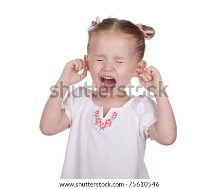A nice image of a young girl with her ears blocked and yelling.