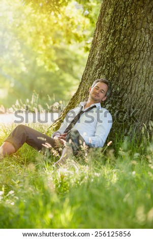 A nice looking grey hair business man is sitting against a tree in the grass, looking like he is dreaming. He is relaxing, enjoying the shadow of the tree in a sunny day.