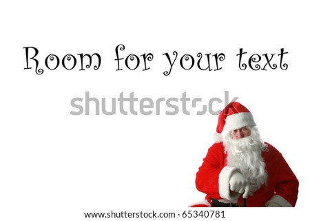 a nice portrait of Santa Claus isolated on white with room for your text or images
