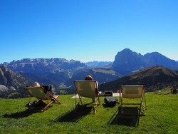 A nice rest in sun loungers on the top of the mountain after a long hike