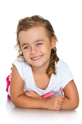 A nice smile is very beautiful little girl - Isolated on white background