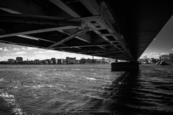 a nice view in black and white from under a bridge in Aalborg