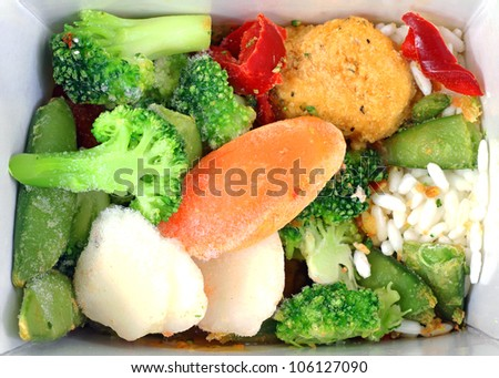 A nice view of frozen orange chicken and vegetables.