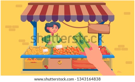 A nice woman sells vegetables. Food stalls