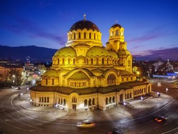 A night aerial view of Sofia, Bulgaria with Saint Alexander Nevsky cathedral church
