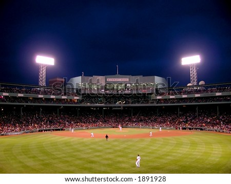 A night game in Fenway Park, Boston, MA. One of the oldest baseball parks, Fenway has to be experienced to be believed.