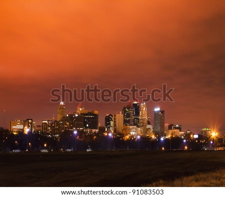 A night image of Kansas City, Missouri taken on December 18th, 2011.  The cloud cover held in the glow of the city lights.  Kansas City, Missouri is the largest city in the state of Missouri.