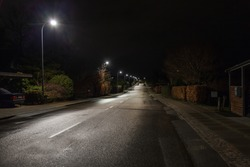 A night scape with an empty residential street lit by a pale street lamps with small houses on the sides with green bushes and dark trees
