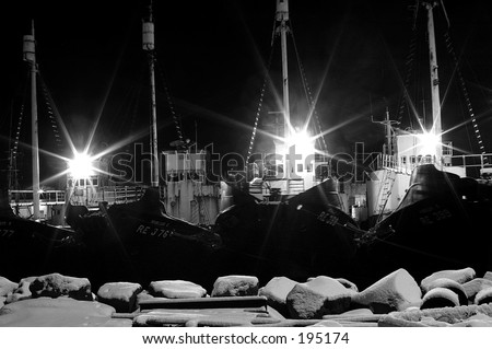 A night shot of the icelandic whale fishing boats