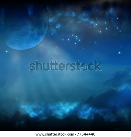 A Night Sky with Moon and Stars