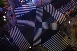 A night Sukiyabashi crossing in Ginza high angle