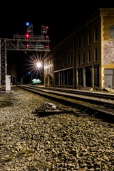 A night view of a new signal bridge along the former Chesapeake and Ohio Railroad in the New River gorge at Thurmond, West Virginia.