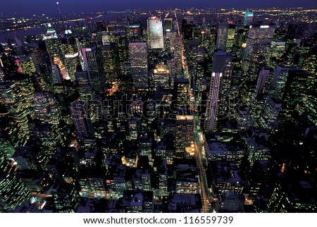 A night view of New York city from the Empire State Building #116559739
