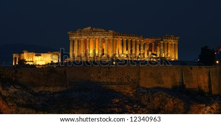 A night view of Parthenon temple; panoramic.