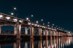 A Night view of Seoul, Han River (Hangang River), Submerged Bridge, Banpodaegyo (Banpo Bridge), South Korea