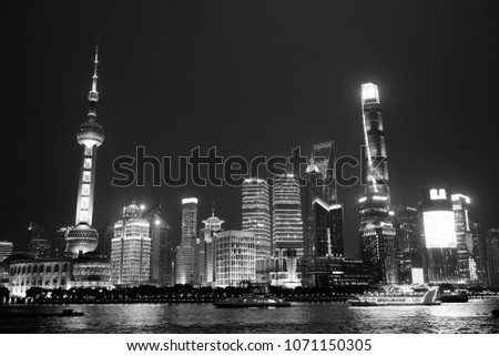 A night view of the Bund, Shanghai/China. In black and white #1071150305