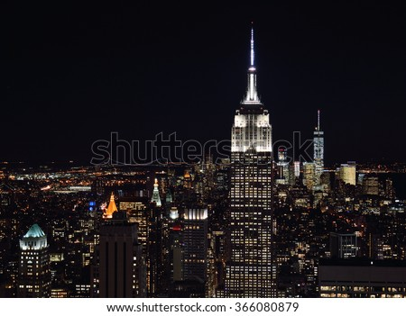 A night view of the New York City. stock photo
