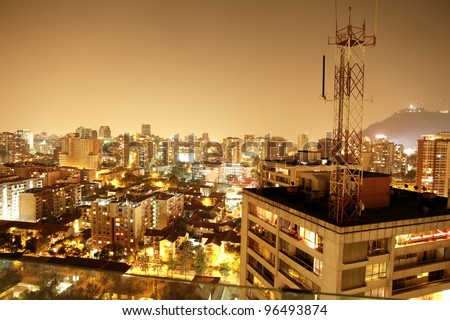 A nightly panorama of Santiago de Chile, South america.