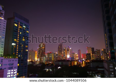 A nightshot of a corner of Bangkok city, capital of Thailand.
