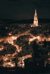 A nightshot of the oldtown, the matte quartier and the münster of bern, the capital of switzerland