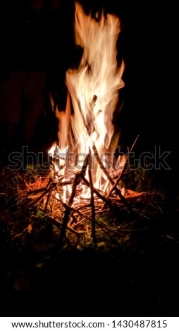 A  nighttime picture taken of a  campfire  burning hot with tall flames.  Sticks and limbs can be seen in the flames with a dark night background.